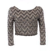 ASTR NEW Juniors Size Large L White Black Textured Wave Cropped Knit Top