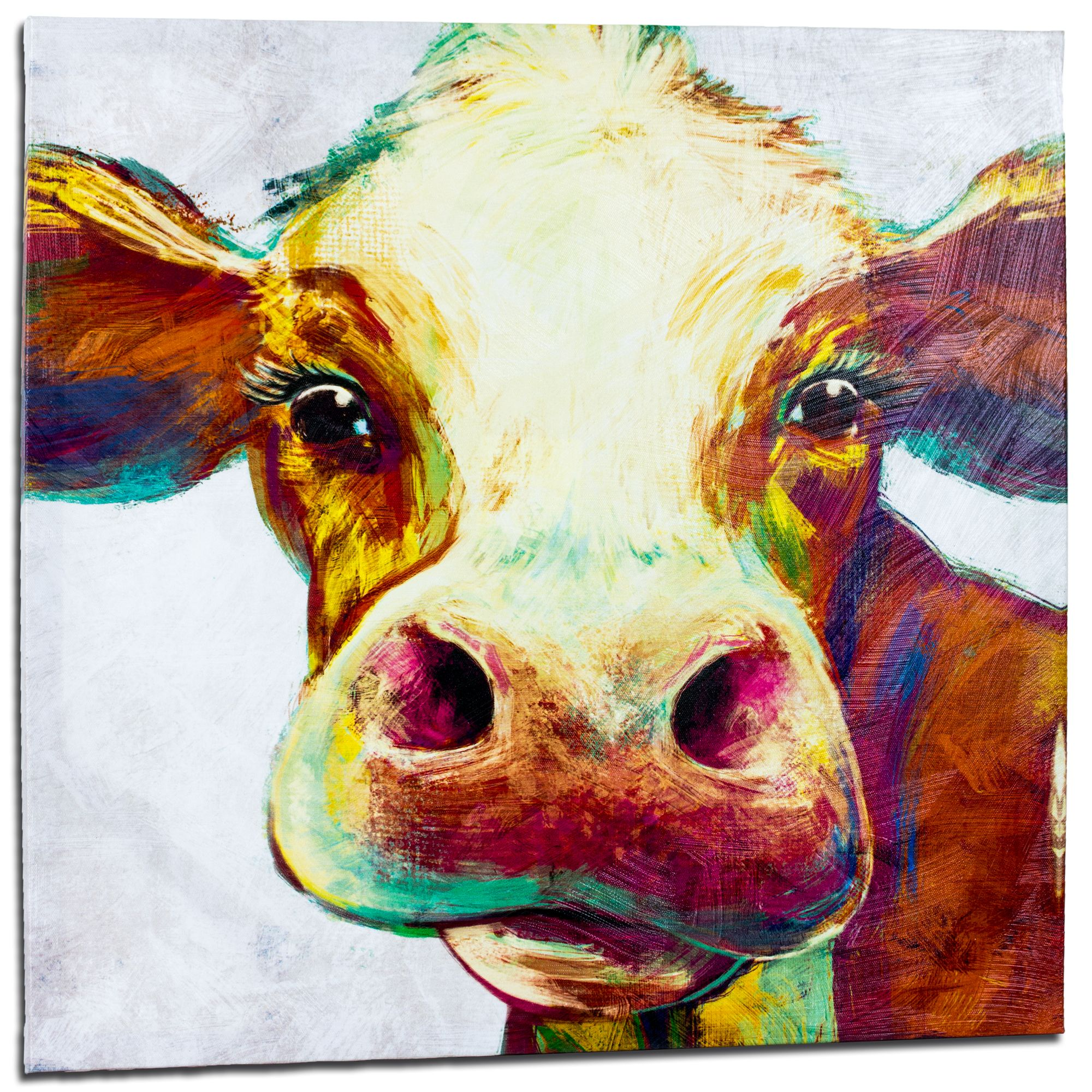 Crystal Art Cow Wrapped Canvas Painting Print Wall Art Decor