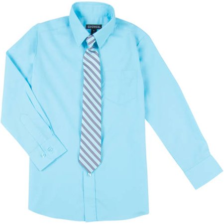 George Boys Long Sleeve Solid Broadcloth Dress Shirt and Tie Set