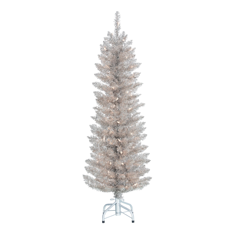 Holiday Time Pre Lit Rose Gold Tinsel Christmas Tree 4 Clear Walmart Com Walmart Com