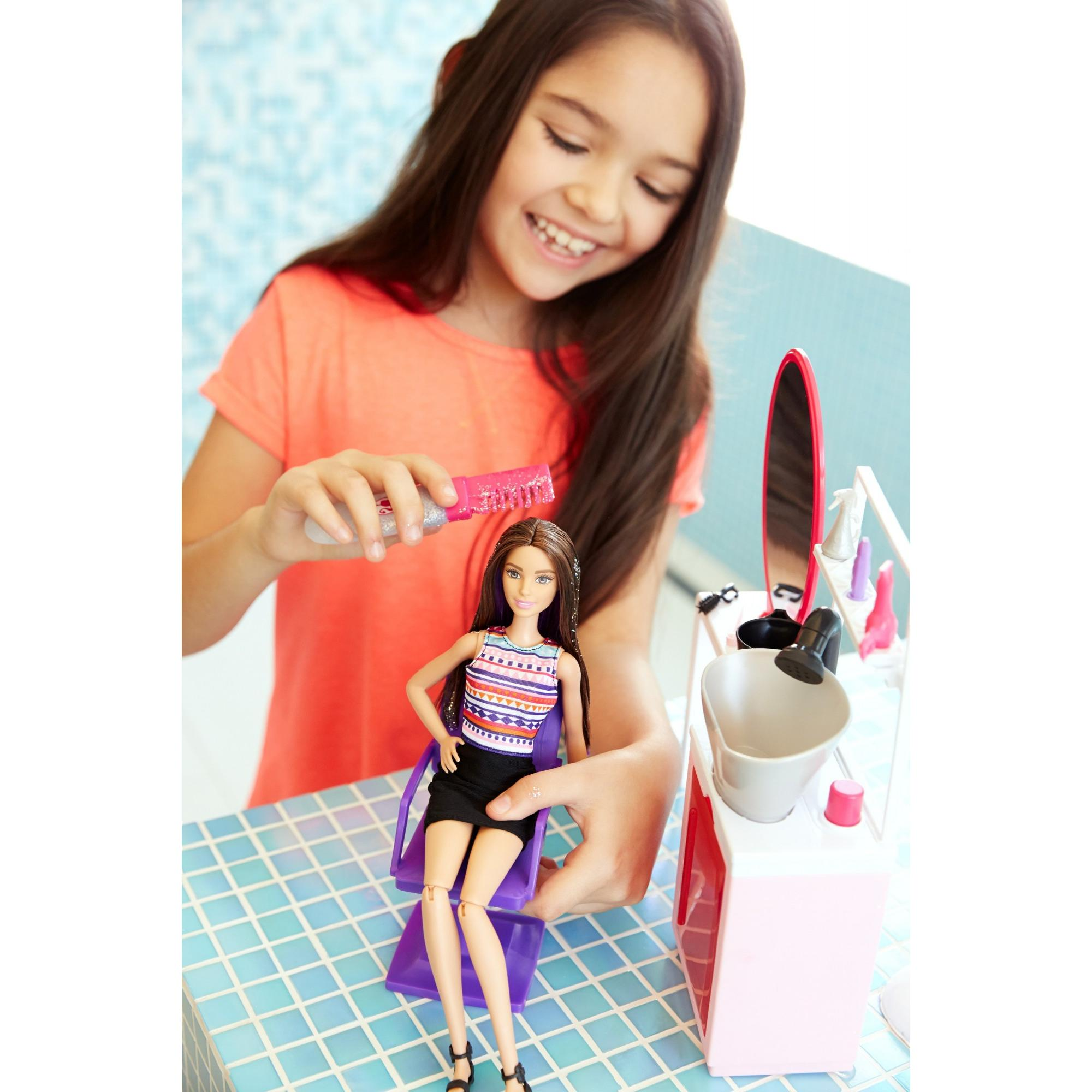 Barbie Sparkle Style Salon Doll & Playset Brunette by MATTEL INC.