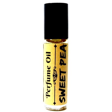 Sweet Pea 10 ml Glass Roll on Bottle with a Stainless Steel Ball, and black cap Pure undiluted and Alcohol Free Perfume Oil Fragrance oil, Vegan product - Novelty - Novelty Products