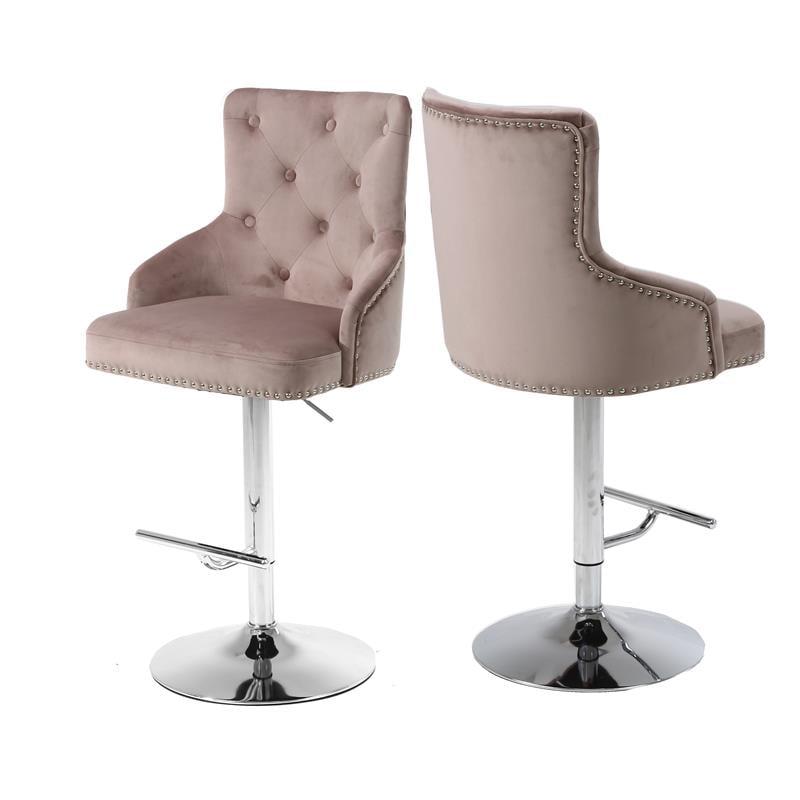 "meridian furniture claude 345""h velvet adjustable bar"