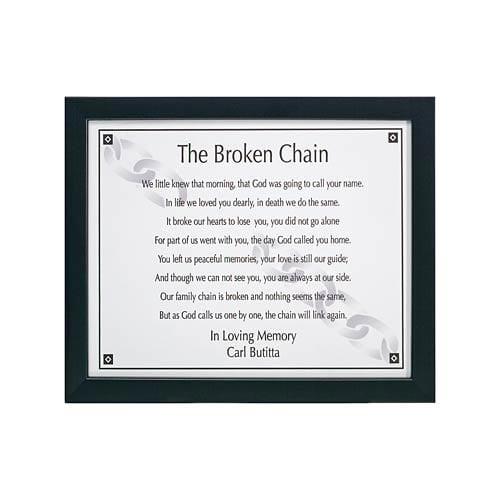 Personalized Memorial Plaque - The Broken Chain