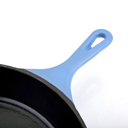 Hamilton Beach 12 Inch Enameled Coated Solid Cast Iron Frying Pan Skillet, Blue
