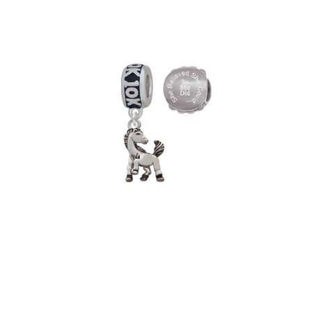 - Silvertone Small Mustang - Mascot 10K Run She Believed She Could Charm Beads (Set of 2)