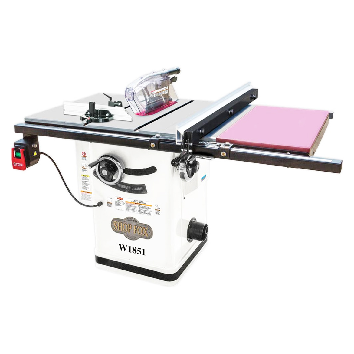 Shop Fox W1851 10-Inch 2-Hp Hybrid Cabinet Table Saw w  Extension Table by