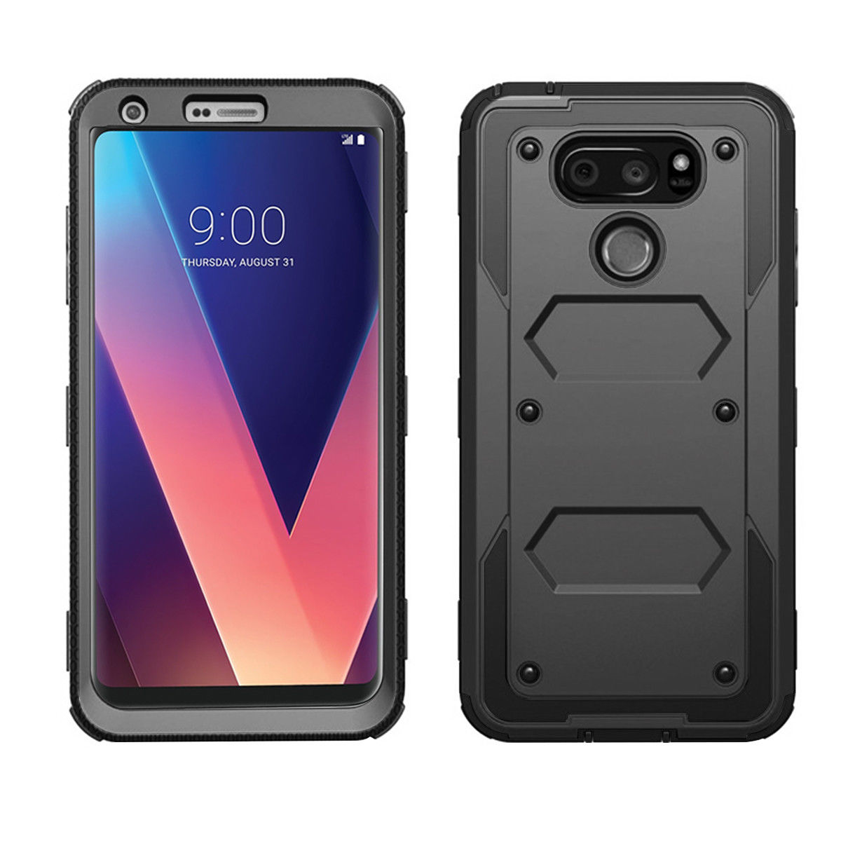 official photos e45e6 6349a LG V30 V350 ThinQ Case, Mignova Heavy Duty Full Body Protective Case with  Kickstand, Build-in Screen Protector and Belt Swivel Clip for LG V30/LG V30  ...