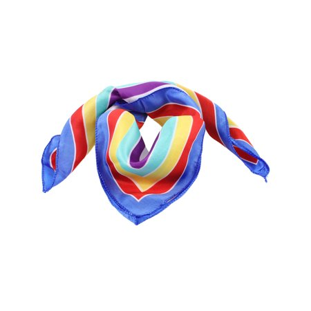 Blue Hem Colorful Stripes Printed Polyester Neck Scarves Kerchief for (A1 Polyester)