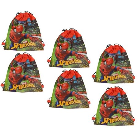 The Amazing Bag Man (Disney Marvel Comics Spider-Man Drawstring Sling Bags (6pc Set) Novelty Character Fashion)