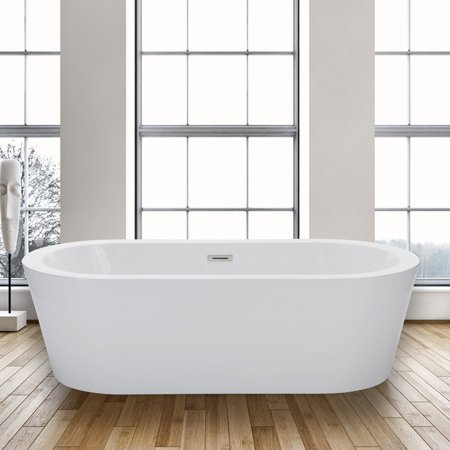 Woodbridge 59 Acrylic Freestanding Bathtub Contemporary Soaking Tub With Brushed Nickel Overflow And Drain B 0012