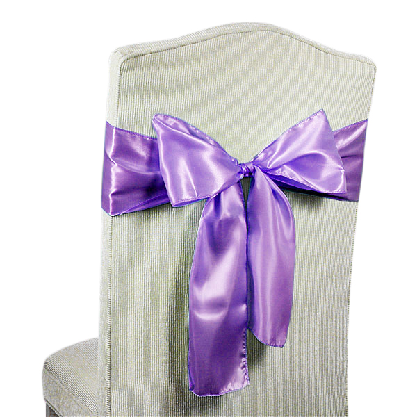 6ea - 6 X 106 Lt. Purple Satin Chair Sash by Paper Mart