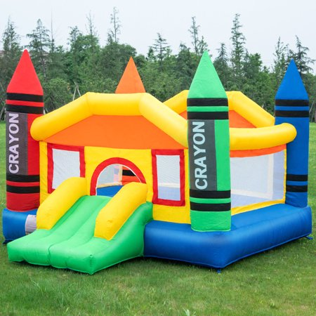 Costway Inflatable Crayon Bounce House Castle Jumper Moonwalk Bouncer without Blower for $<!---->