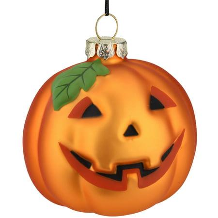 Tree Buddees Jack-O-Lantern Pumpkin Decoration Blown Glass Ornament Halloween, Thanksgiving, Christmas Ornaments ()