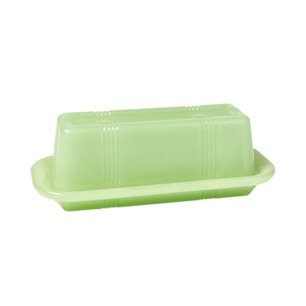 Jade Green Glass Butter Dish Vintage Country Kitchen Serving Accents Walmart Com Walmart Com