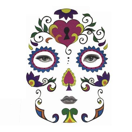 Best Halloween Makeup For Sugar Skull (Iuhan Creative Halloween Temporary Face Art Waterproof Mask Sugar Skull Tattoo Beauty)