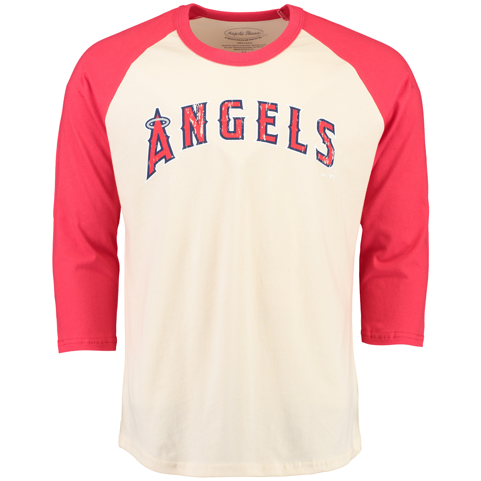 Los Angeles Angels Majestic Threads Softhand Vintage Cooperstown Three-Quarter Raglan Sleeve T-Shirt - Cream/Red