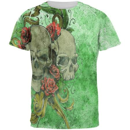 St. Patricks Day Deadly Wild Irish Rose Skull Tattoo All Over Mens T Shirt - Skull And Roses Tattoo Sleeve