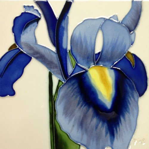 Continental Art Center Blue Iris White Background Tile Wall Decor