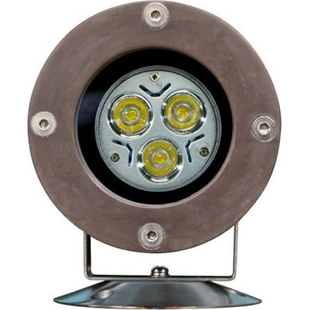 Dabmar Lighting FG313-LED3 Fiberglass LED Pond & Fountain Underwater Light with Stainless Steel Base, Bronze Fiberglass - 7 x 3.82 x 6 in. (Led Underwater Base)