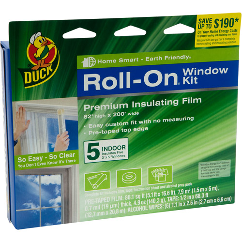 Duck Brand Roll-On Window Kit, Indoor, 5-Pack