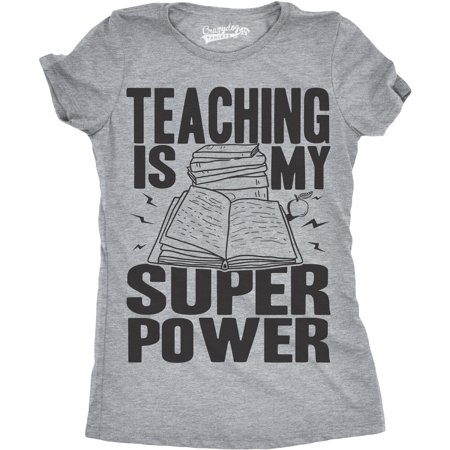 Womens Teaching Is My Superpower Funny Teacher Superhero Nerd T shirt ()