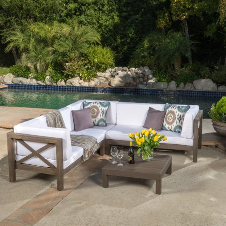 Josefina 4 Piece X-Back Wooden Patio Sectional Set with Cushions ...