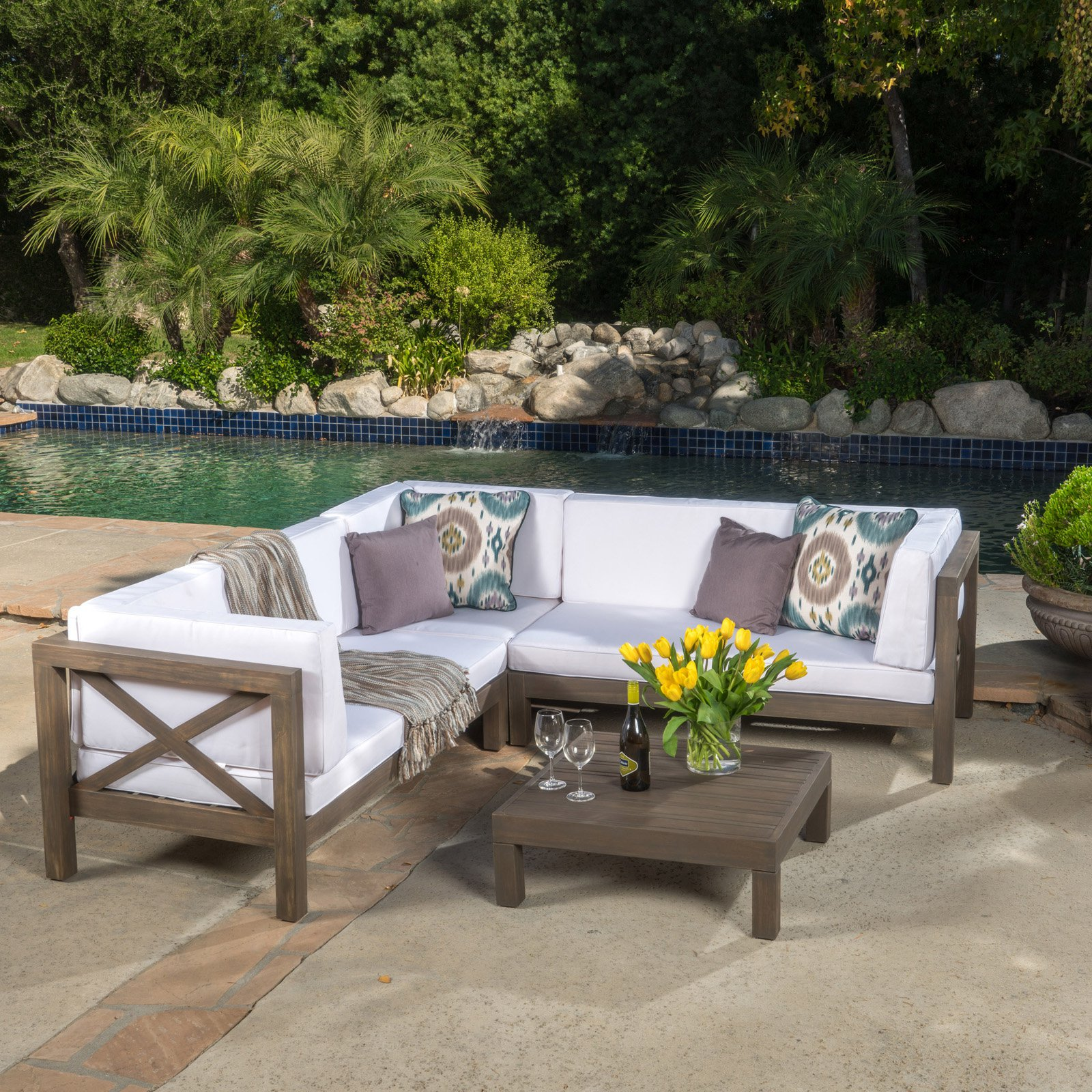 Josefina 4 Piece X Back Wooden Patio Sectional Set With Cushions