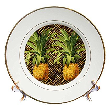 Porcelain Pineapple (3dRose A Pair of Juicy Tropical Pineapples Botanical Illustration, Porcelain Plate,)