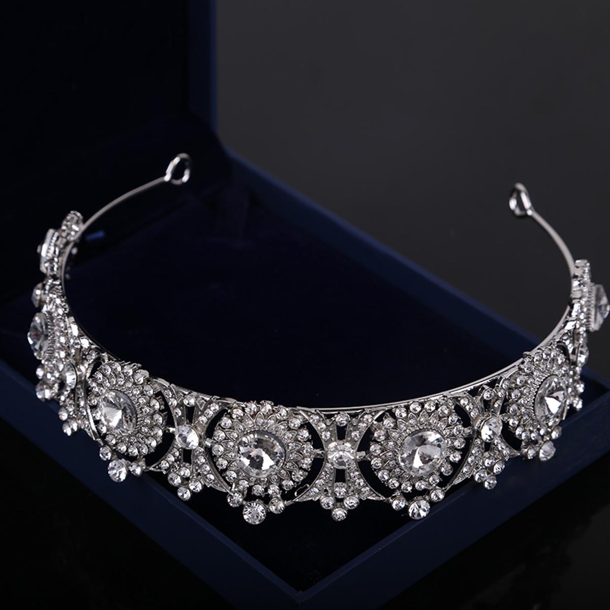 Quincea\u00f1era Rhinestone Tiara Crown Prom Queen Sweet 16 Pageant