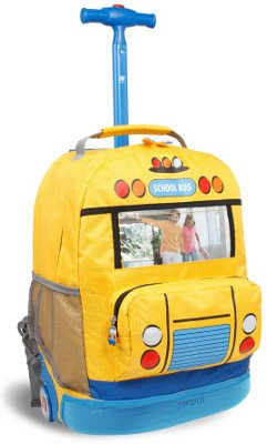 J World 'School Bus' 16-inch Picture Frame Rolling Kids Backpack by Overstock