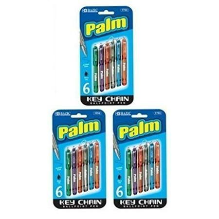 Palm Tungsten Pen (3 Pk, Bazic Palm Key Chain Mini Ballpoint Pen, 6 Per Pack (Total of 18)