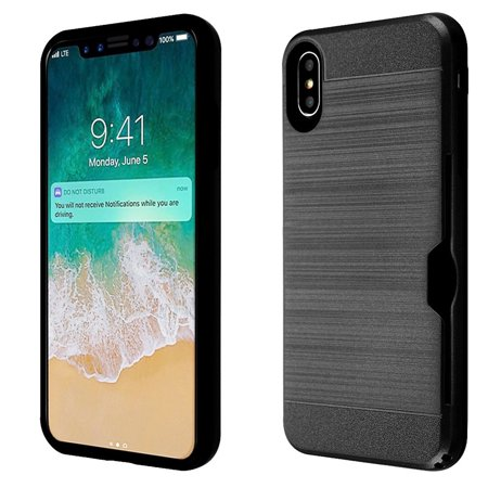 Insten Dual Layer [Shock Absorbing] Hybrid Brushed Hard Plastic/Soft TPU Rubber with Card Slot Case Cover For Apple iPhone XS Max, Black - image 4 of 4