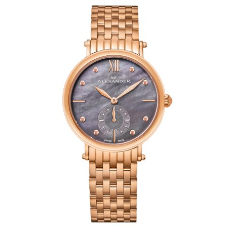 - Alexander Monarch Roxana Black MOP Rose Gold Women Swiss Quartz Watch AD201B-04