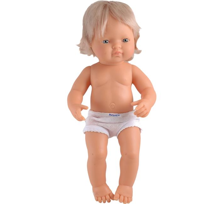 Miniland Educational 31052 Baby doll white girl (40 cm- 15 6/8'')Polybag