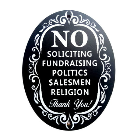 No Soliciting Thank You Sign for Home and Business Decoration Wooden Wall Signs Use with Door Knockers and Bell