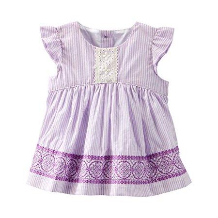 Lightweight Embroidered Eyelet (OshKosh B'gosh Baby Girls' Embroidered Eyelet Top - Purple - 24)