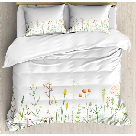 Green Flower Duvet Cover Set, Grass Pattern Nature Illustration Wildlife Scene Rustic Lifestyle Elements, Decorative Bedding Set with Pillow Shams, Multicolor, by Ambesonne ()
