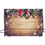DODOING 7X5FT Christmas Backdrop Snowflake Gold Glitter Christmas Wood Wall Photography Backdrop Xmas Vintage Wooden Floor Background for Kids Portrait Photo Studio Booth