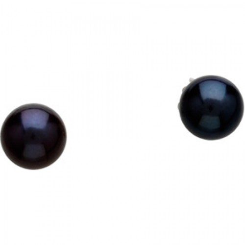 Akoya Pearl Earrings 6.0MM Black Pearls In 14K by gemaffair