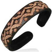 Brown Leather Engraved Cuff Bangle Womens Bracelet