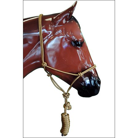 TAN NEW PROFESSIONAL 5/16 in. POLY HORSE ROPE HALTER HEADSTALL W/ 8 ft. LEAD
