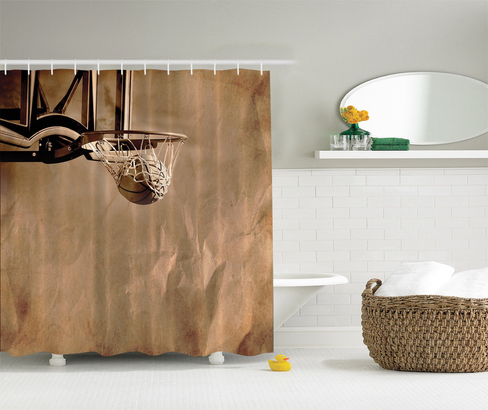 Basketball Decor Basket Picture For Boys Prime Sports Fan Fabric Shower  Curtain