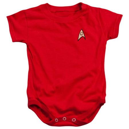 Infant: Star Trek - Enfineering Uniform Apparel Infant Bodysuit - Red - Star Trek Adult Onesie
