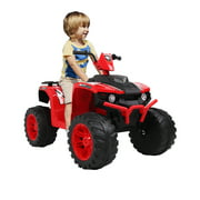 12V ATV Ride on Toys, Kids 4-Wheeler ATV Quad Ride-On Car Toy, Rechargeable Battery-Powered Ride On Car Toy, Electric Red Ride On Toys for Boys Girls Ages 3-7, 2 Speeds, LED Lights, MP3 Music, L5359