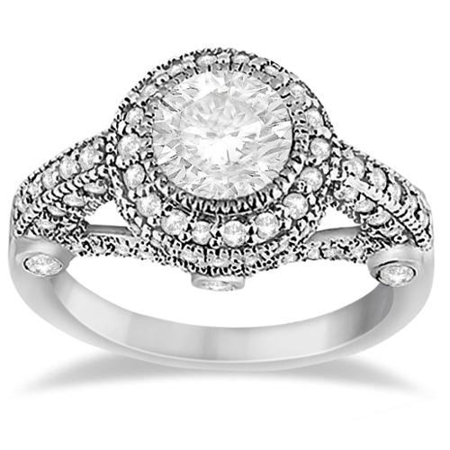 14k Gold 1ct TDW Vintage Diamond Halo Art Deco Engagement Ring Setting (G-H, SI1-SI2) 14k White Gold - Size 4.5