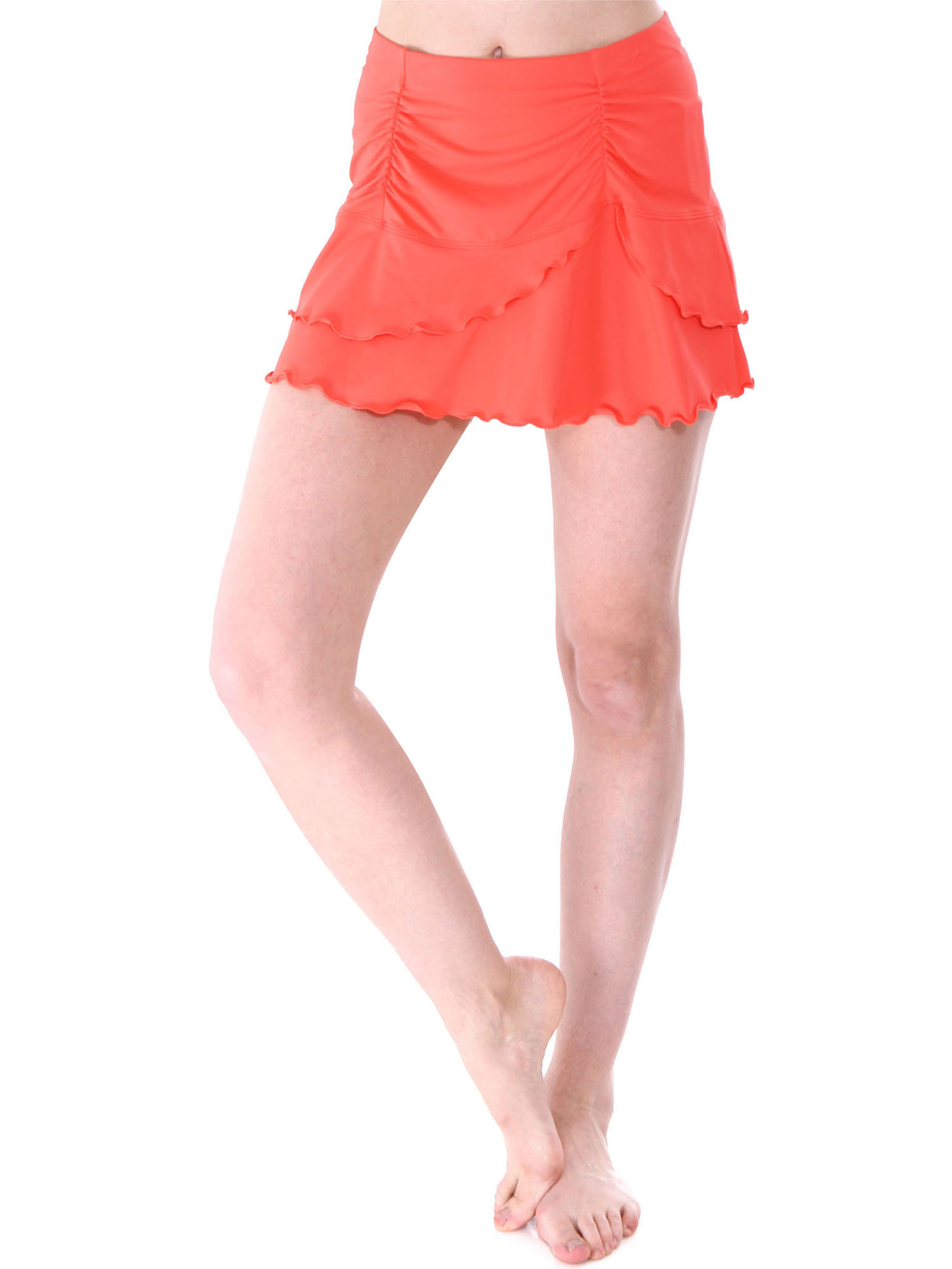 Women's Summer Solid Colored Cover Up Skirt Swim Skirt, Coral, L