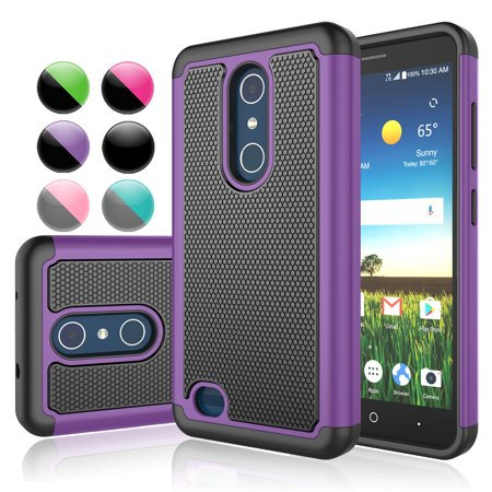 info for e34cf 30020 ZTE Z983 Case,ZTE Z983 Cover,ZTE Blade X Max Sturdy Case,Njjex Shock  Absorbing [Purple] Rugged Rubber Double Layer Plastic Scratch Resistant  Hard Case ...