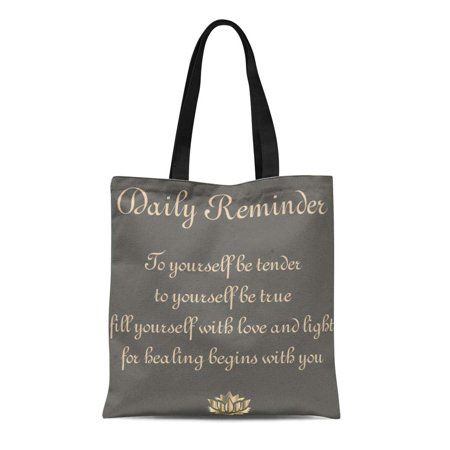 JSDART Canvas Tote Bag Gray Wellness Healing Recovery Get Well Sobriety Poetry Encouragement Reusable Handbag Shoulder Grocery Shopping Bags - image 1 of 1