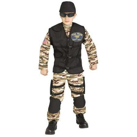 Fun World SF Commando Halloween 4pc Boy Costume, Green Brown Black (18+ Halloween Events In Sf)